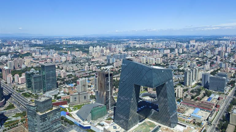 Picture of the city of Beijing. The picture is taken from the birdseye perspective.