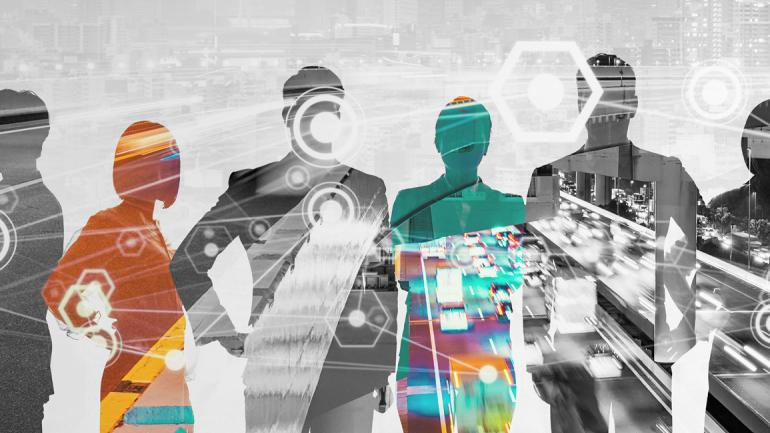 Decorative picture in black and white on which the transparent silhouettes of six people are depicted - two of them are colored. Through the whole picture is the image of a city with speedwaya and cars.